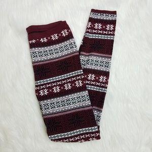 Forever21 Burgundy Fair Isle Style Sweater Legging
